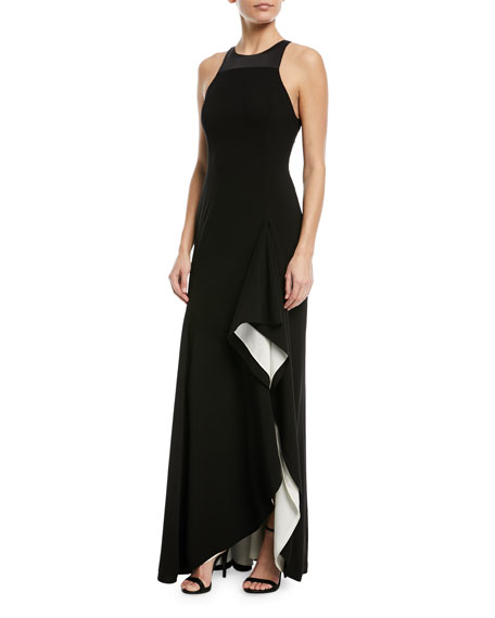 Two-Tone Asymmetric Ruffle Gown