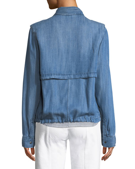 Collins Zip-Front Chambray Utility Jacket