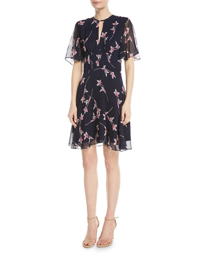 Masha Floral Chiffon Flutter-Sleeve Dress