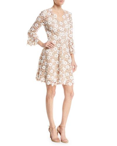 Ren Floral Lace V-Neck A-Line Dress