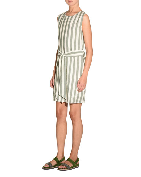 Striped Self-Tie Cotton Mini Dress