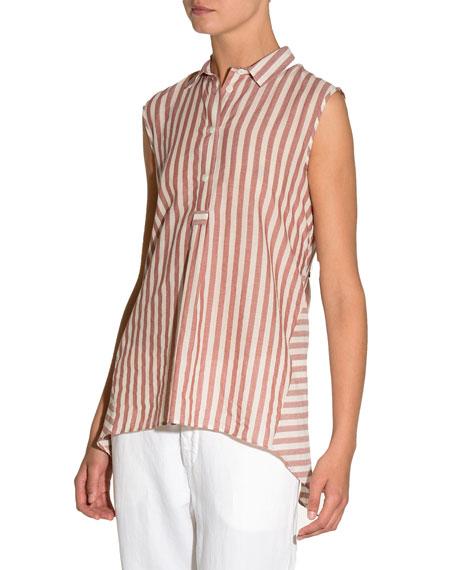 Striped Cotton Sleeveless Trapeze Top