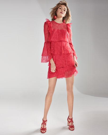 Tiered Pleated Lace Mini Dress