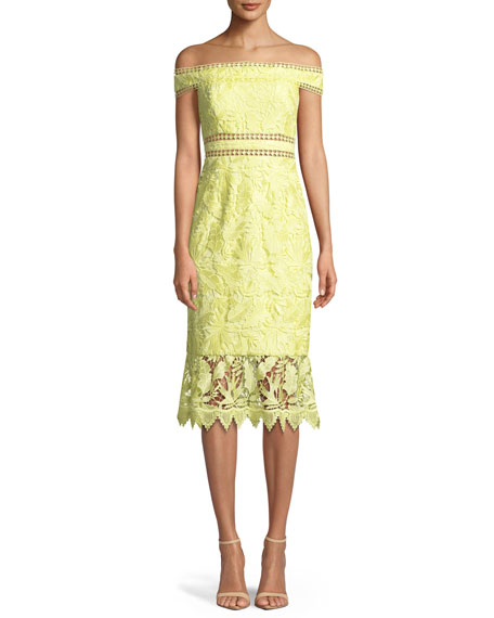 Aidan by Aidan Mattox Scalloped Off-the-Shoulder Lace Cocktail