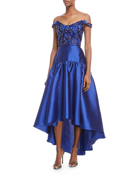Marchesa Notte High-Low Mikado Gown w/ Bead Embroidered
