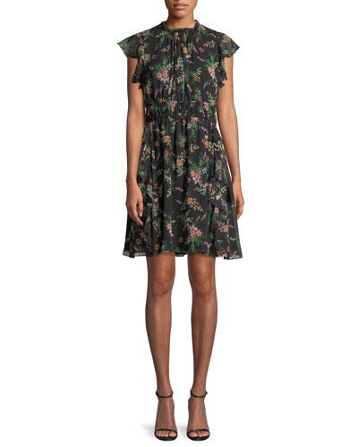Amora Floral-Print Silk Flutter-Sleeve Mini Dress