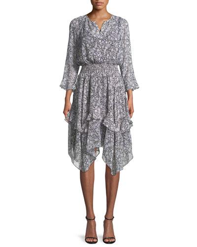 Koko Tiered Floral-Print Silk Blouson Dress