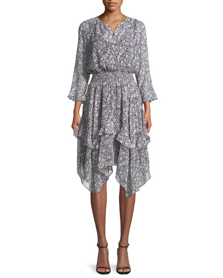 Koko Tiered Floral-Print Silk Blouson Dress