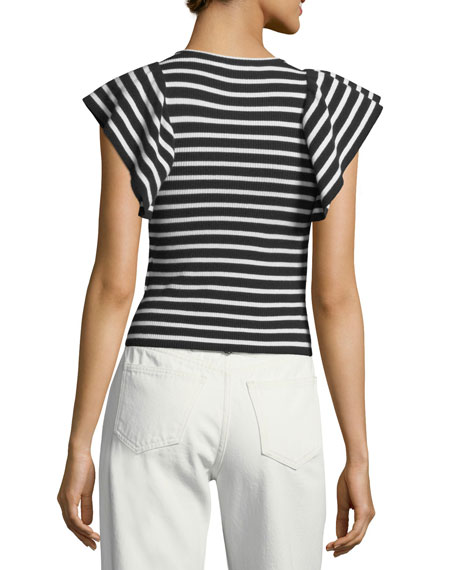 Draper Crewneck Striped Ribbed Top