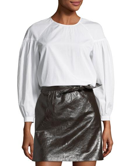 A.L.C. Baizen Crewneck Puff-Sleeve Cotton Top and Matching