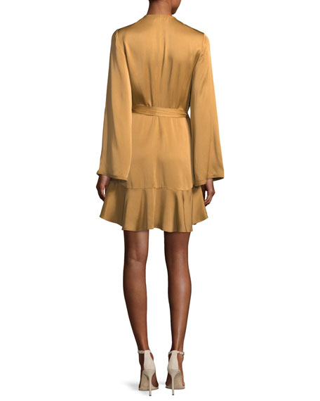 Whitney Long-Sleeve Satin Wrap Dress