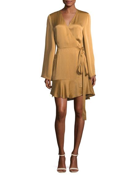 A.L.C. Whitney Long-Sleeve Satin Wrap Dress