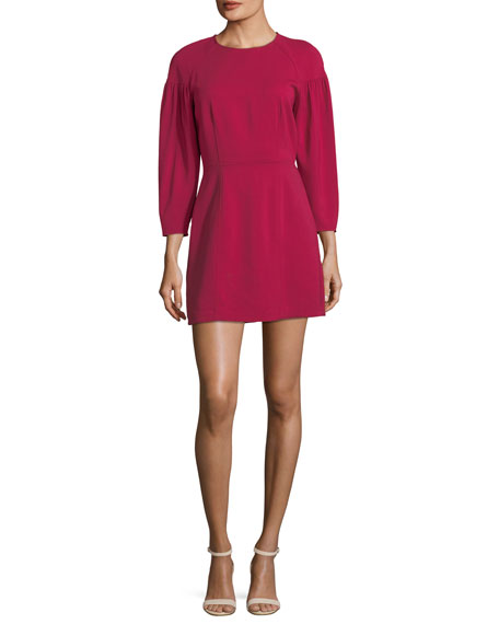 A.L.C. Renton Crewneck Pouf-Sleeve Short Dress