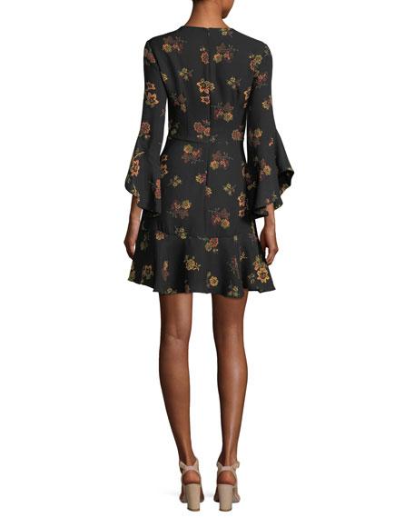 Cassidy Crewneck Long-Sleeve Silk Dress