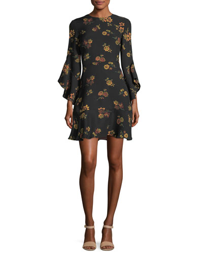 Cassidy Crewneck Long-Sleeve Silk Dress