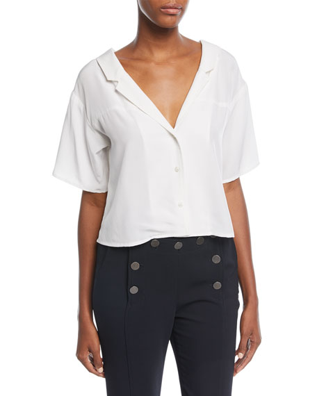 Arto V-Neck Button-Front Silk Top
