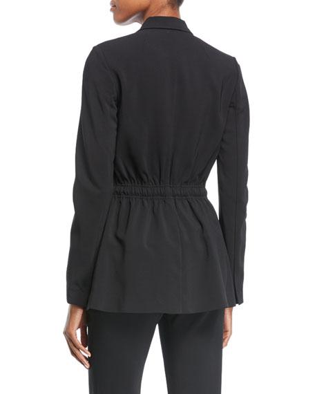Collins Peak-Lapel One-Button Drawstring-Waist Jacket
