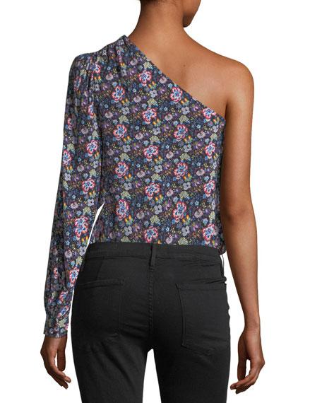 One-Shoulder Floral-Print Top
