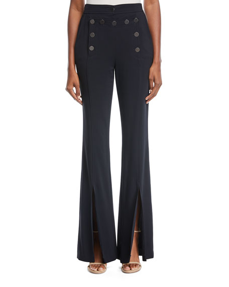 Gavin Flared-Leg Split-Hem Crepe Pants in Midnight