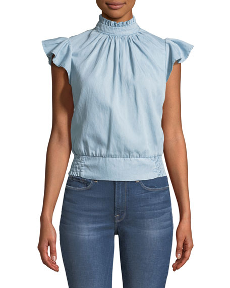 FRAME Smocked Sleeveless Chambray Blouse