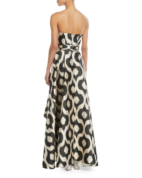Taksim Strapless High-Low Asymmetric Fan Gown
