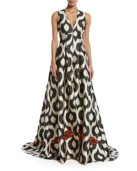 Sachin & Babi Erva Embellished Puddle-Hem Gown