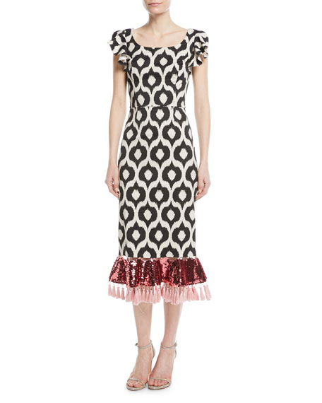 Scoop-Neck Batik Sequin Tassel Cocktail Dress