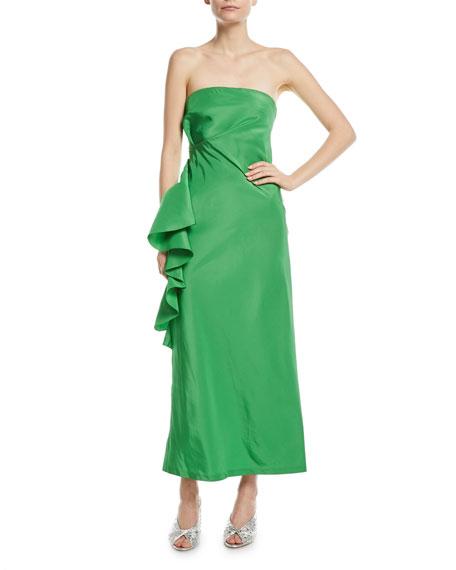 Esma Taffeta Bustier Strapless Asymmetric Ruffle Gown