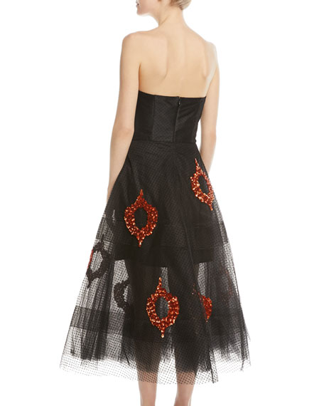 Bazaar Strapless Tulle Sequin Midi Dress
