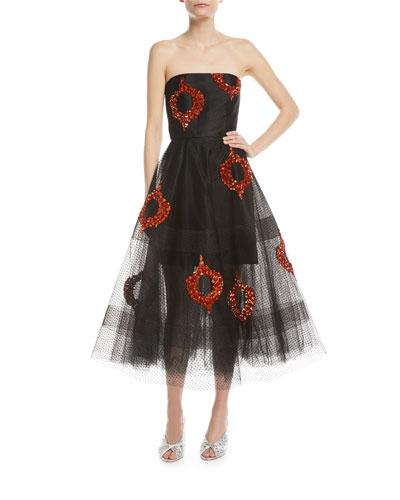 Bazaar Strapless Tulle Sequin Midi Dress