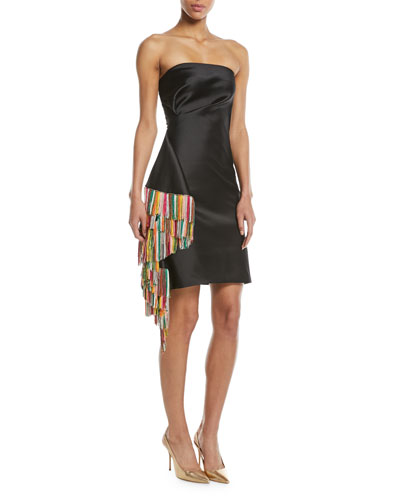 Galanthu Strapless Mini Dress w/ Side Fringe