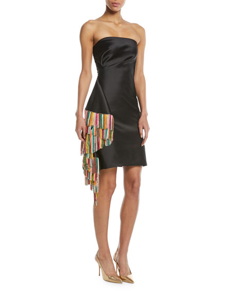 Galanthu Strapless Mini Dress w/ Side Fringe