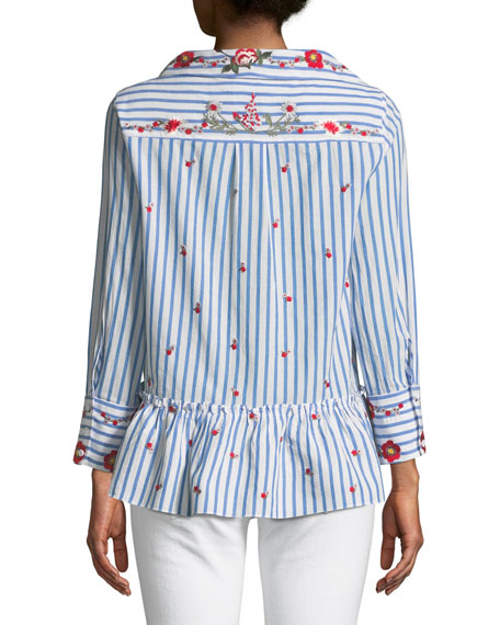 Ashlyn Button-Down Floral-Embroidered Striped Peplum Top