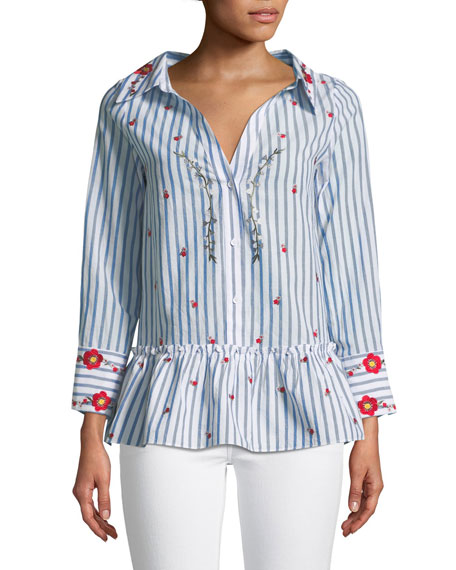 Alice + Olivia Ashlyn Button-Down Floral-Embroidered Striped
