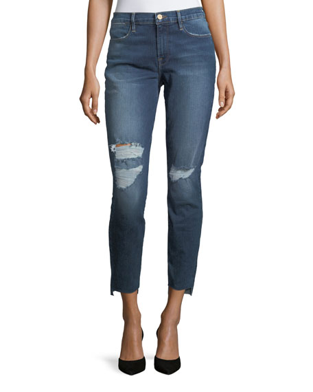 FRAME Le High Skinny-Leg Jeans with Raw Hem