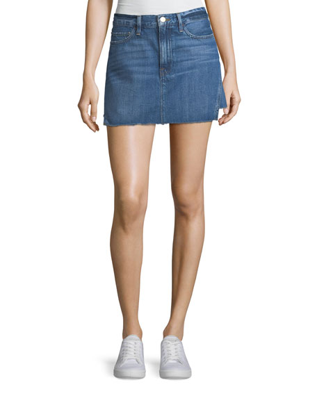 FRAME Le Mini Denim Skirt with Released Hem