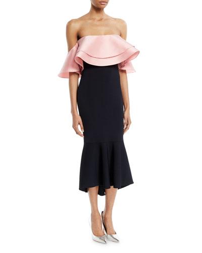 Eminonu Two-Tone Ruffle Off-Shoulder Dress