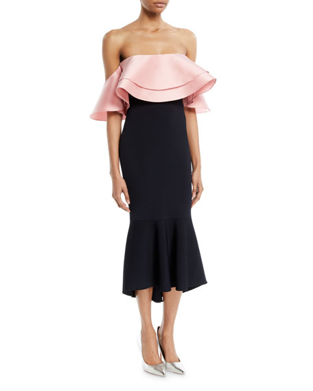 Sachin & Babi Eminonu Two-Tone Ruffle Off-Shoulder Dress