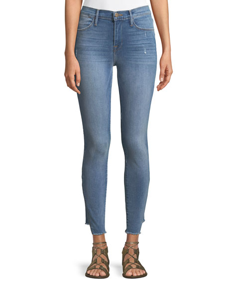 FRAME Le High Skinny-Leg Jeans with Gusset Step