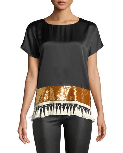 Rustem Silk Short-Sleeve Sequin Tassel Top