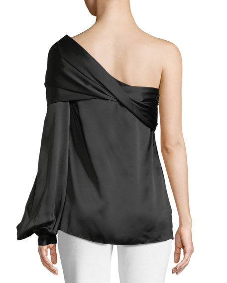Pasa One-Shoulder Silk Tassel Blouse