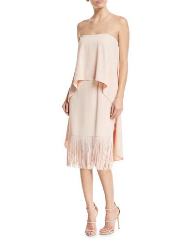 Strapless Tiered Crepe & Fringe Midi Cocktail Dress