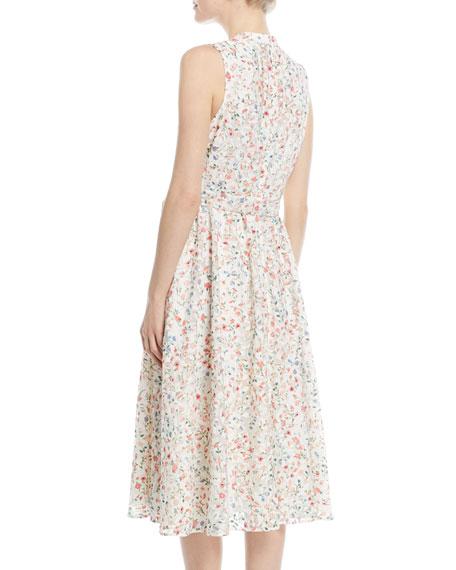 mini bloom burnout midi v-neck dress