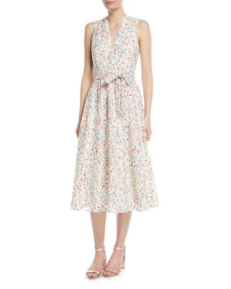 Mini Bloom Burnout Midi V Neck Dress by Kate Spade New York
