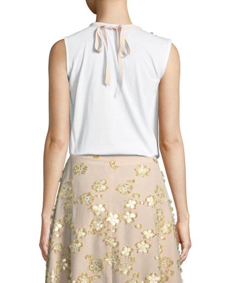 Floral-Neck Cotton T-Shirt