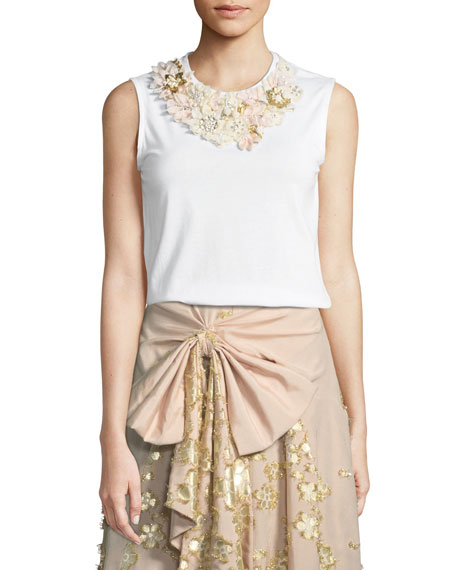 Badgley Mischka Collection Floral-Neck Cotton T-Shirt