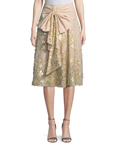 Badgley Mischka Collection Metallic Floral Cotton Skirt with