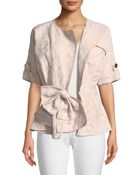 Jacquard Jacket with Bow-Front
