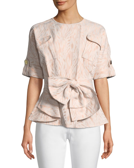 Badgley Mischka Collection Jacquard Jacket with Bow-Front