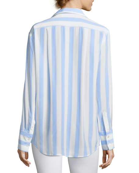 Long-Sleeve Button-Front Striped Silk Blouse